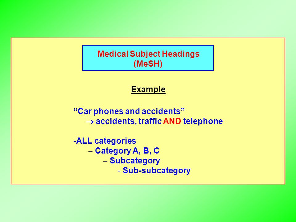 Medical Subject Headings (MeSH) Example Car phones and accidents  accidents, traffic AND telephone -ALL categories  Category A, B, C  Subcategory - Sub-subcategory