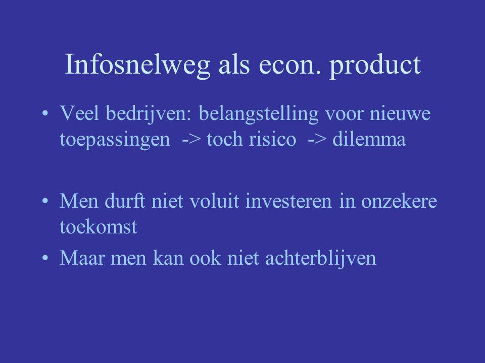 Infosnelweg als econ. product Veel bedrijven: belangstelling voor nieuwe toepassingen -> toch risico -> dilemma Men durft niet voluit investeren in on