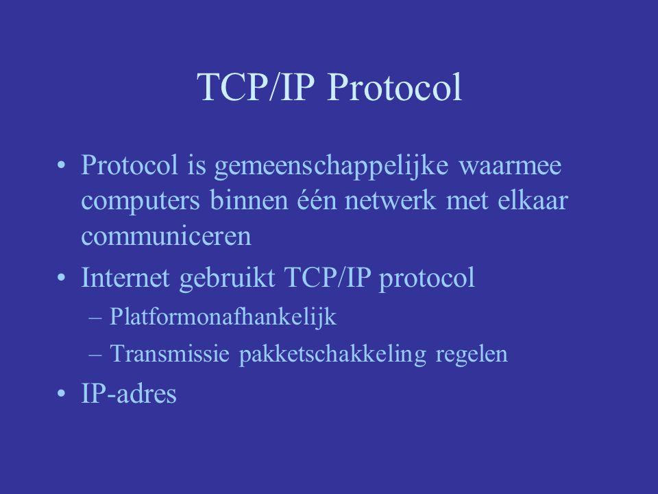 TCP/IP Protocol Protocol is gemeenschappelijke waarmee computers binnen één netwerk met elkaar communiceren Internet gebruikt TCP/IP protocol –Platfor