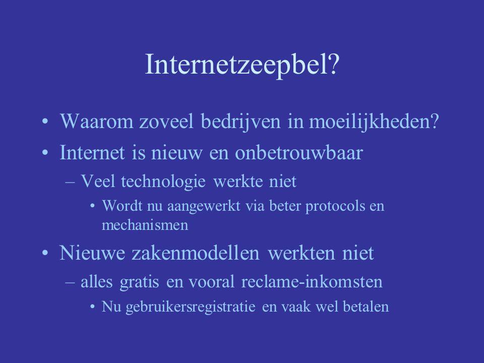 Internetzeepbel Positieve gevolgen van de internethype –Zeer snelle evolutie van technologie en infrastructuur –Dotcomboom, veel interessante experimenten Gefinanceerd door de beursgang (ipv traditionele bank)
