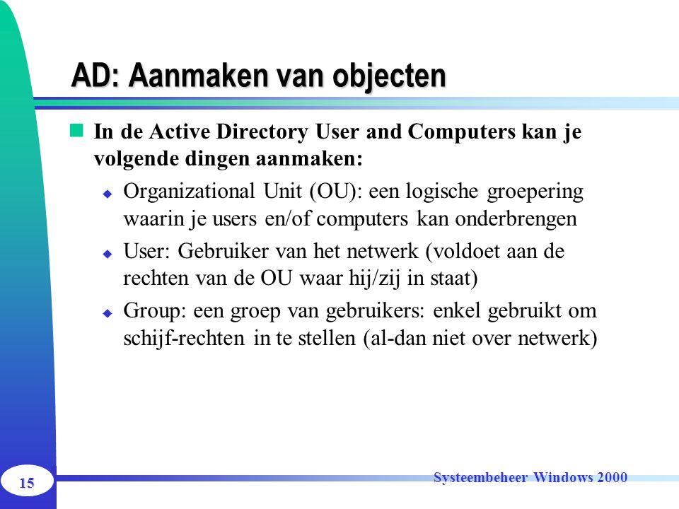 15 Systeembeheer Windows 2000 AD: Aanmaken van objecten In de Active Directory User and Computers kan je volgende dingen aanmaken:  Organizational Un