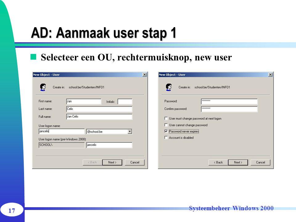 17 Systeembeheer Windows 2000 AD: Aanmaak user stap 1 Selecteer een OU, rechtermuisknop, new user