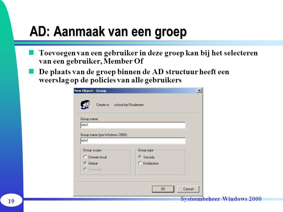 19 Systeembeheer Windows 2000 AD: Aanmaak van een groep Toevoegen van een gebruiker in deze groep kan bij het selecteren van een gebruiker, Member Of