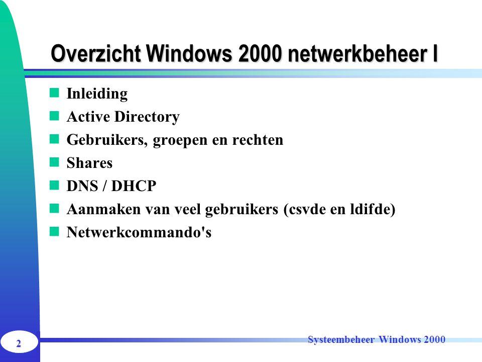 2 Systeembeheer Windows 2000 Overzicht Windows 2000 netwerkbeheer I Inleiding Active Directory Gebruikers, groepen en rechten Shares DNS / DHCP Aanmak