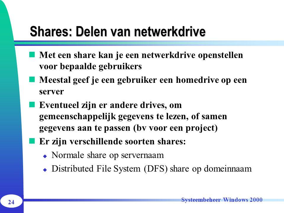 24 Systeembeheer Windows 2000 Shares: Delen van netwerkdrive Met een share kan je een netwerkdrive openstellen voor bepaalde gebruikers Meestal geef j