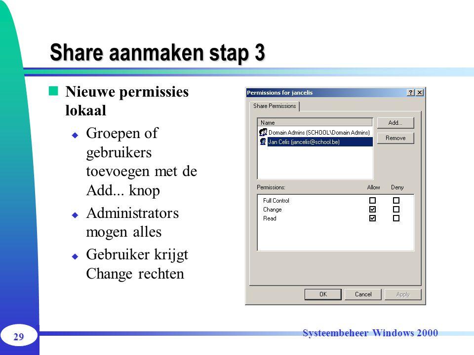 29 Systeembeheer Windows 2000 Share aanmaken stap 3 Nieuwe permissies lokaal  Groepen of gebruikers toevoegen met de Add... knop  Administrators mog