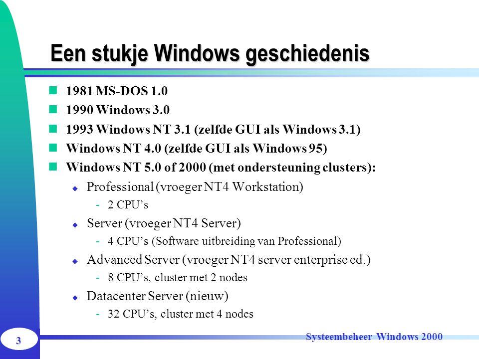 3 Systeembeheer Windows 2000 Een stukje Windows geschiedenis 1981 MS-DOS 1.0 1990 Windows 3.0 1993 Windows NT 3.1 (zelfde GUI als Windows 3.1) Windows