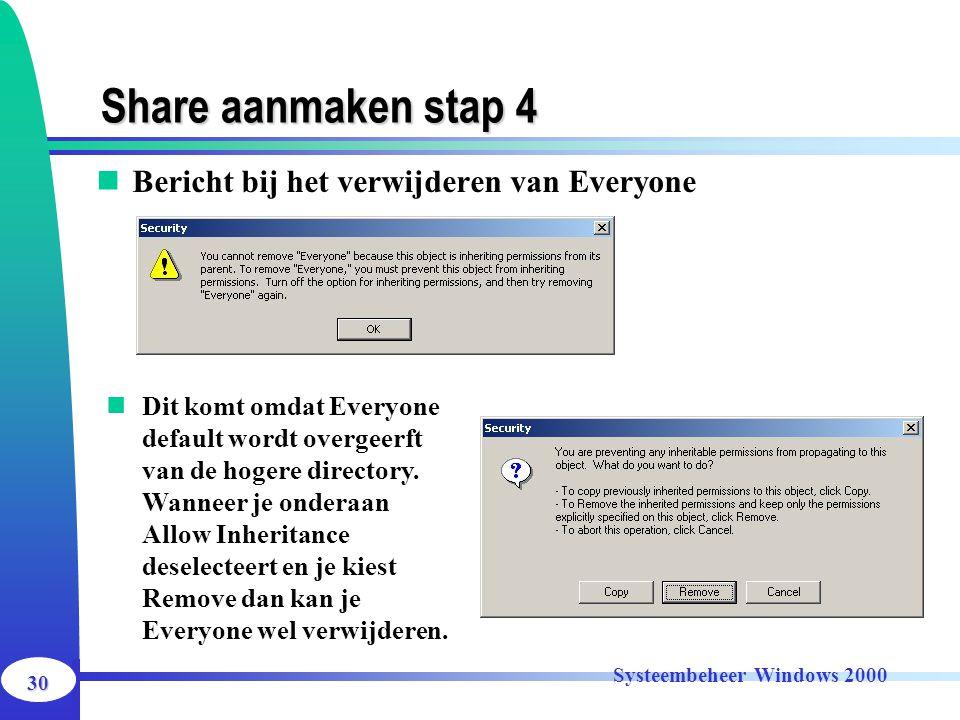 30 Systeembeheer Windows 2000 Share aanmaken stap 4 Bericht bij het verwijderen van Everyone Dit komt omdat Everyone default wordt overgeerft van de h
