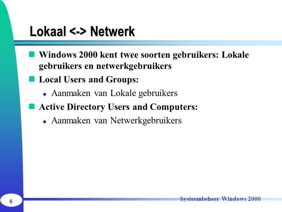 6 Systeembeheer Windows 2000 Lokaal Netwerk Windows 2000 kent twee soorten gebruikers: Lokale gebruikers en netwerkgebruikers Local Users and Groups: