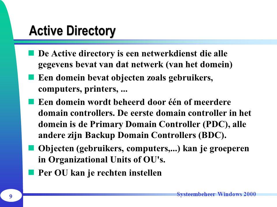 9 Systeembeheer Windows 2000 Active Directory De Active directory is een netwerkdienst die alle gegevens bevat van dat netwerk (van het domein) Een do