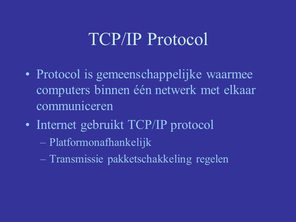 TCP/IP Protocol Protocol is gemeenschappelijke waarmee computers binnen één netwerk met elkaar communiceren Internet gebruikt TCP/IP protocol –Platformonafhankelijk –Transmissie pakketschakkeling regelen