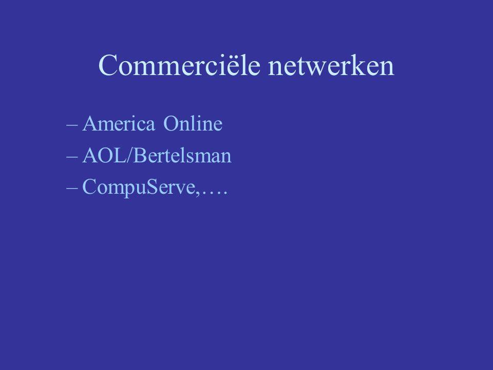 Commerciële netwerken –America Online –AOL/Bertelsman –CompuServe,….