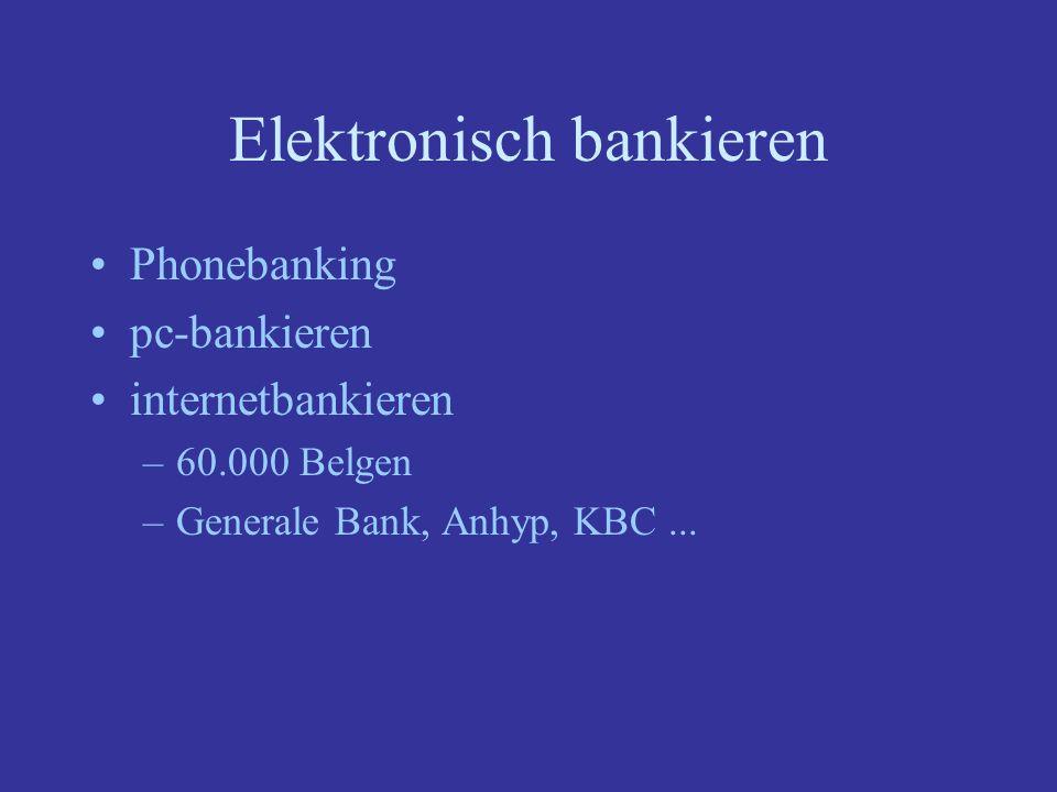 Elektronisch bankieren Phonebanking pc-bankieren internetbankieren –60.000 Belgen –Generale Bank, Anhyp, KBC...