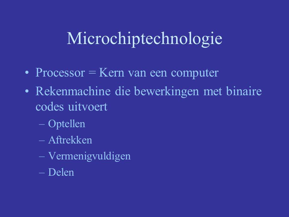 Microchiptechnologie Processor = Kern van een computer Rekenmachine die bewerkingen met binaire codes uitvoert –Optellen –Aftrekken –Vermenigvuldigen –Delen