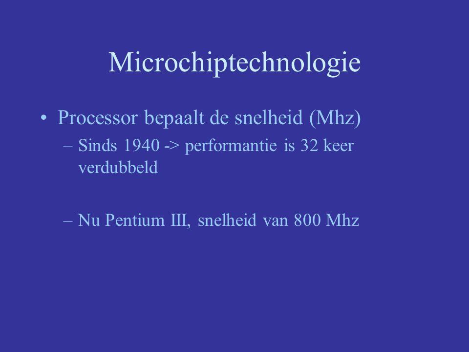Microchiptechnologie Geheugenchips bepalen kwantiteit Verschillende soorten –Ram –Rom geheugencapaciteit chip enorm vergroot –jaren '70 -> 1042 bits –1996 -> 64 miljoen bits