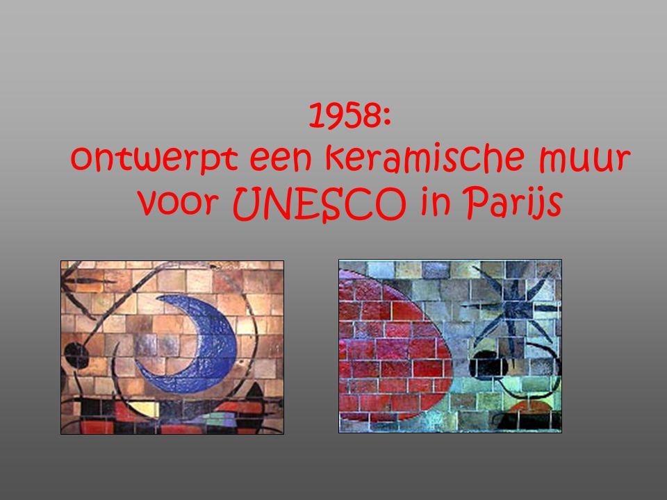 1958: ontwerpt een keramische muur voor UNESCO in Parijs