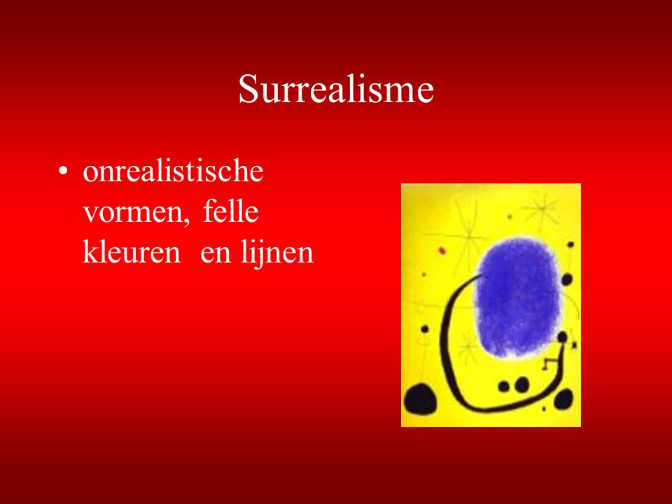 Surrealisme onrealistische vormen, felle kleuren en lijnen