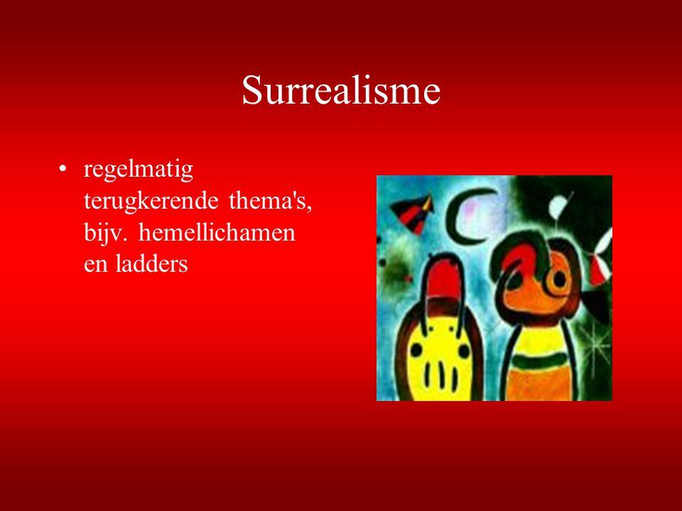 Surrealisme regelmatig terugkerende thema's, bijv. hemellichamen en ladders
