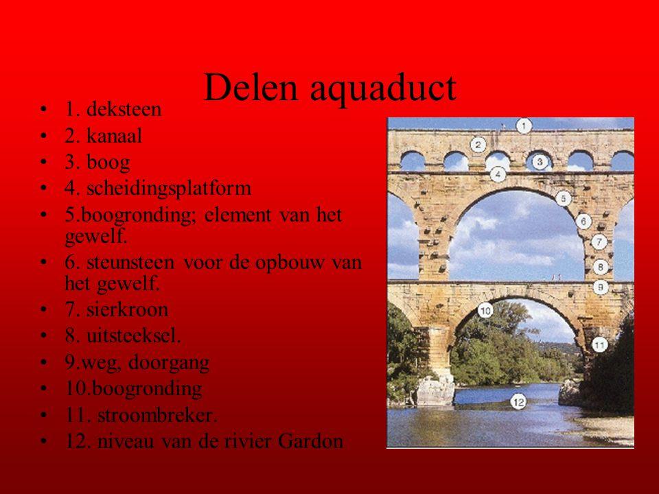 Delen aquaduct 1. deksteen 2. kanaal 3. boog 4. scheidingsplatform 5.boogronding; element van het gewelf. 6. steunsteen voor de opbouw van het gewelf.