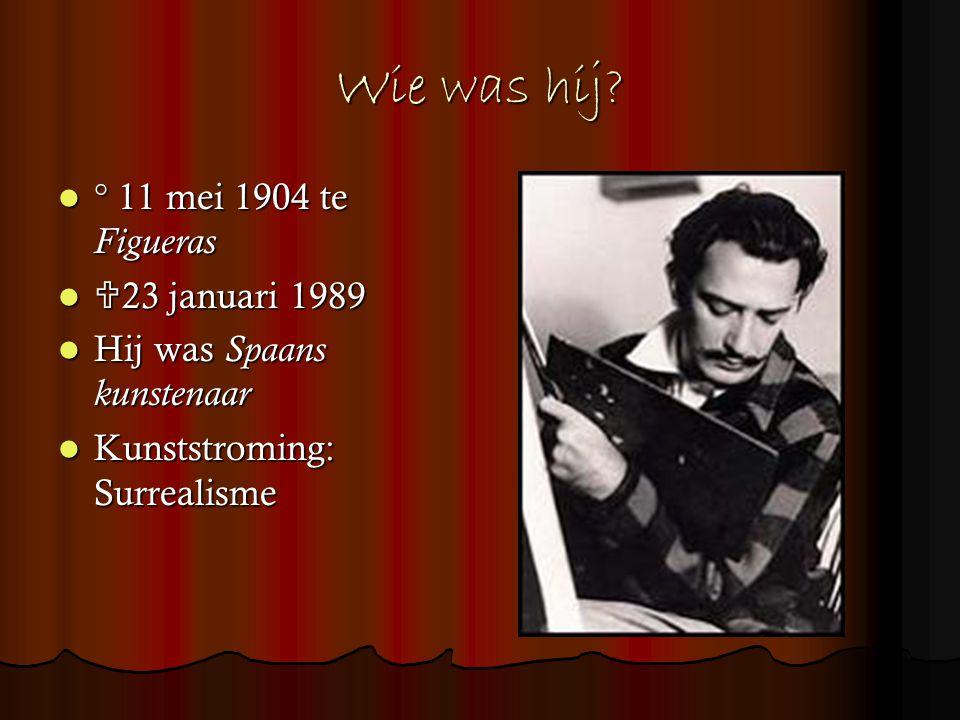 Wie was hij? ° 11 mei 1904 te Figueras ° 11 mei 1904 te Figueras  23 januari 1989  23 januari 1989 Hij was Spaans kunstenaar Hij was Spaans kunstena