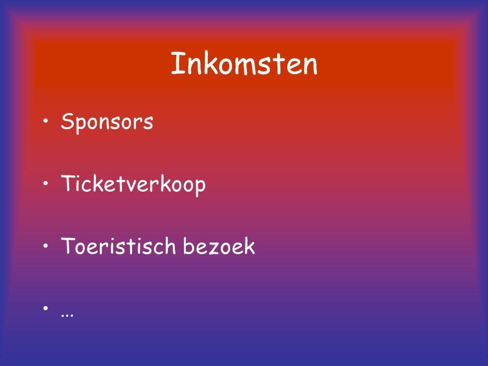 Inkomsten Sponsors Ticketverkoop Toeristisch bezoek …