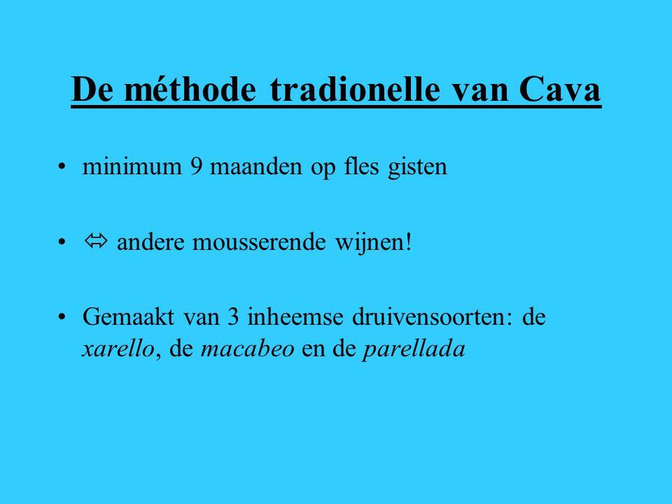 De méthode tradionelle van Cava minimum 9 maanden op fles gisten  andere mousserende wijnen! Gemaakt van 3 inheemse druivensoorten: de xarello, de ma
