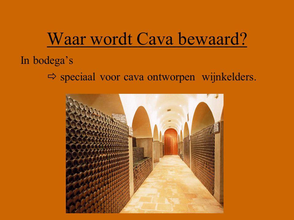 Waar wordt Cava bewaard? In bodega's  speciaal voor cava ontworpen wijnkelders.