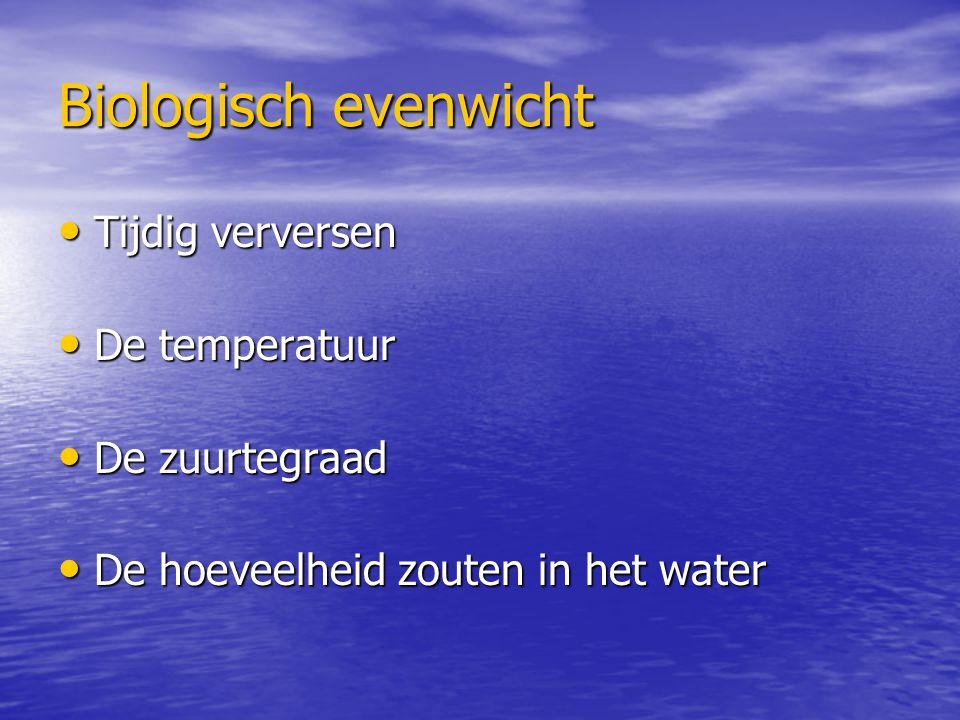 Biologisch evenwicht Tijdig verversen Tijdig verversen De temperatuur De temperatuur De zuurtegraad De zuurtegraad De hoeveelheid zouten in het water