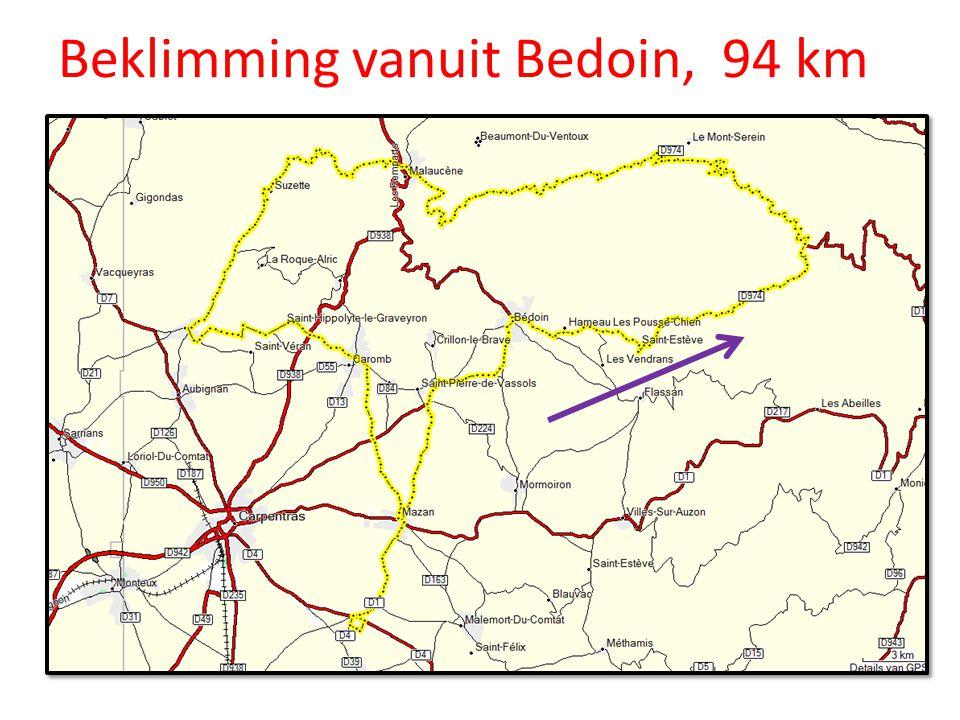 Beklimming vanuit Bedoin, 94 km