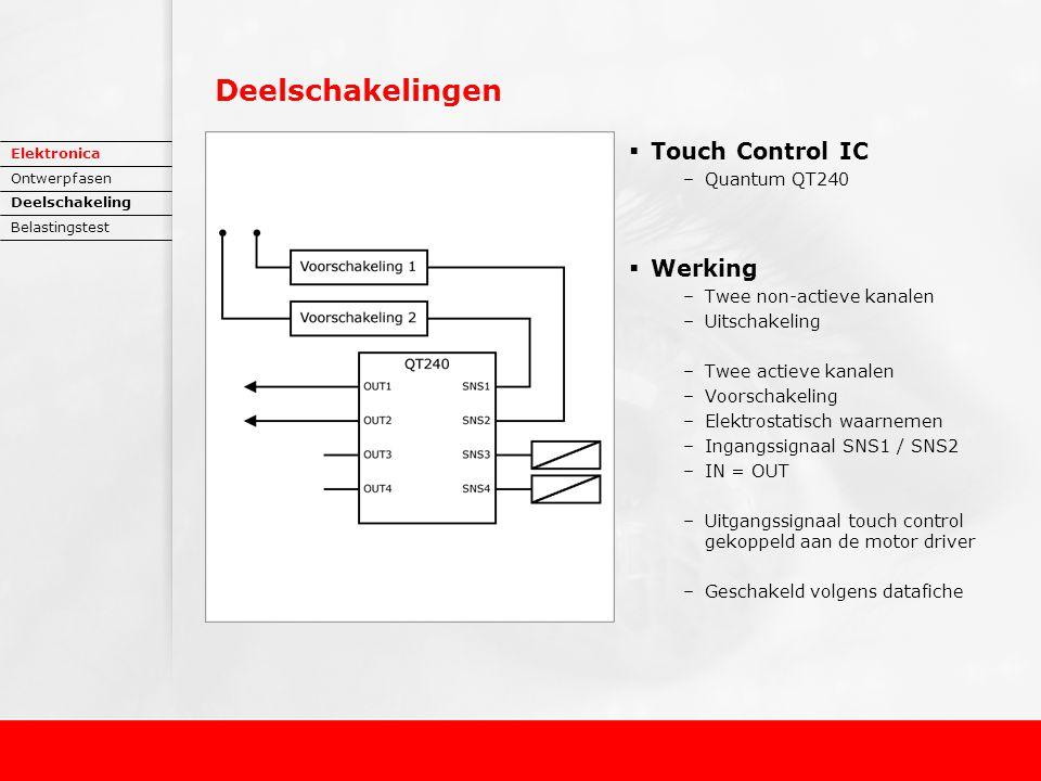 Deelschakelingen  Touch Control IC –Quantum QT240  Werking –Twee non-actieve kanalen –Uitschakeling –Twee actieve kanalen –Voorschakeling –Elektrostatisch waarnemen –Ingangssignaal SNS1 / SNS2 –IN = OUT –Uitgangssignaal touch control gekoppeld aan de motor driver –Geschakeld volgens datafiche Elektronica Ontwerpfasen Deelschakeling Belastingstest