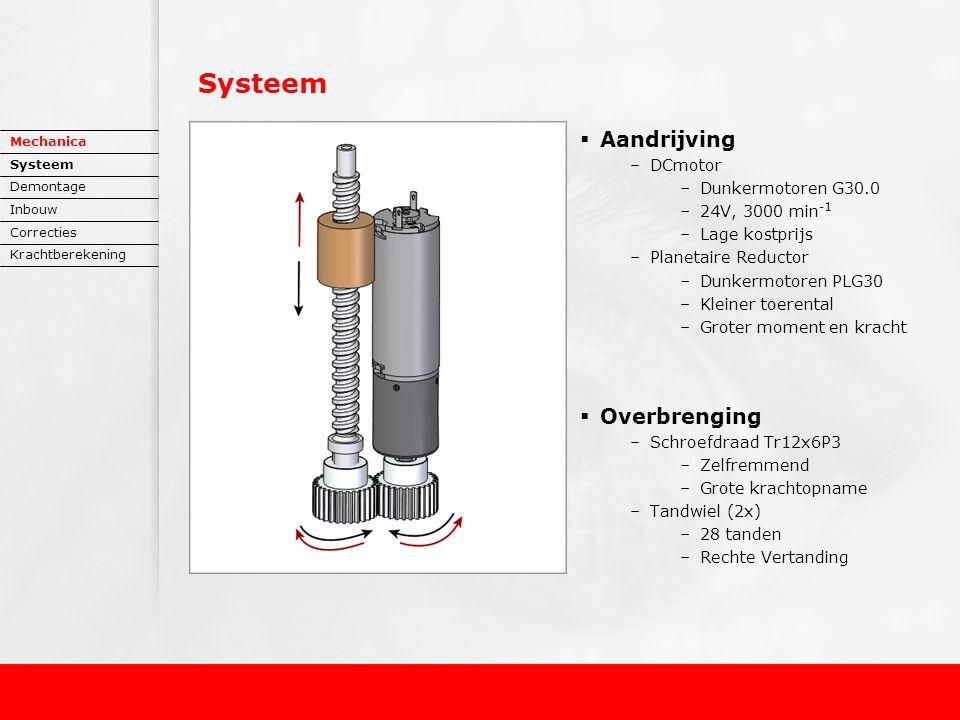 Systeem  Aandrijving –DCmotor –Dunkermotoren G30.0 –24V, 3000 min -1 –Lage kostprijs –Planetaire Reductor –Dunkermotoren PLG30 –Kleiner toerental –Groter moment en kracht  Overbrenging –Schroefdraad Tr12x6P3 –Zelfremmend –Grote krachtopname –Tandwiel (2x) –28 tanden –Rechte Vertanding Mechanica Systeem Demontage Inbouw Correcties Krachtberekening