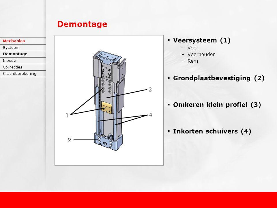 Demontage  Veersysteem (1) –Veer –Veerhouder –Rem  Grondplaatbevestiging (2)  Omkeren klein profiel (3)  Inkorten schuivers (4) Mechanica Systeem Demontage Inbouw Correcties Krachtberekening
