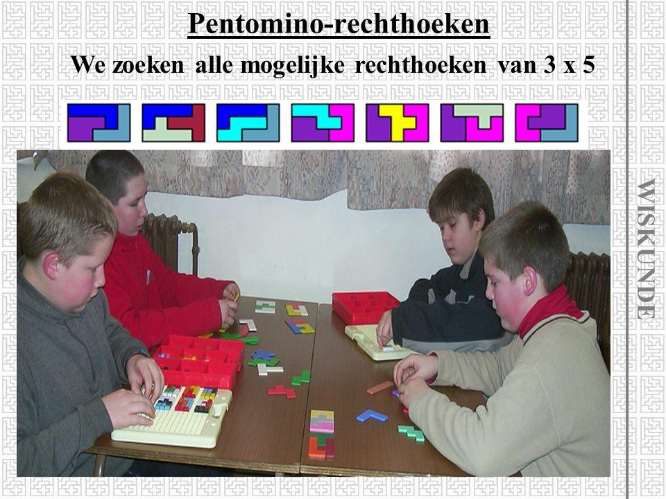Pentomino-rechthoeken We zoeken de verschillende soorten rechthoeken met een oppervlakte van 60 l=20 en b=3 l=15 en b=4 l=12 en b=5 l=10 en b=6 WISKUN