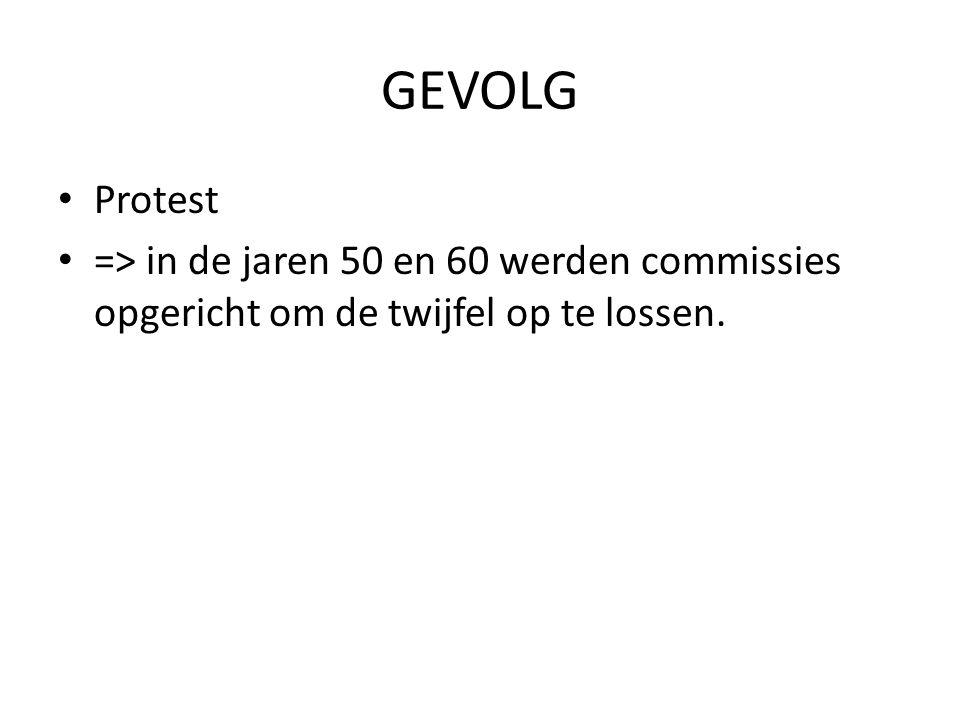 GEVOLG Protest => in de jaren 50 en 60 werden commissies opgericht om de twijfel op te lossen.