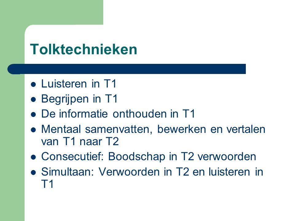 Luisteren in T1 Begrijpen in T1 De informatie onthouden in T1 Mentaal samenvatten, bewerken en vertalen van T1 naar T2 Consecutief: Boodschap in T2 verwoorden Simultaan: Verwoorden in T2 en luisteren in T1
