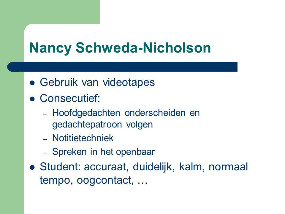 Nancy Schweda-Nicholson Gebruik van videotapes Consecutief: – Hoofdgedachten onderscheiden en gedachtepatroon volgen – Notitietechniek – Spreken in het openbaar Student: accuraat, duidelijk, kalm, normaal tempo, oogcontact, …