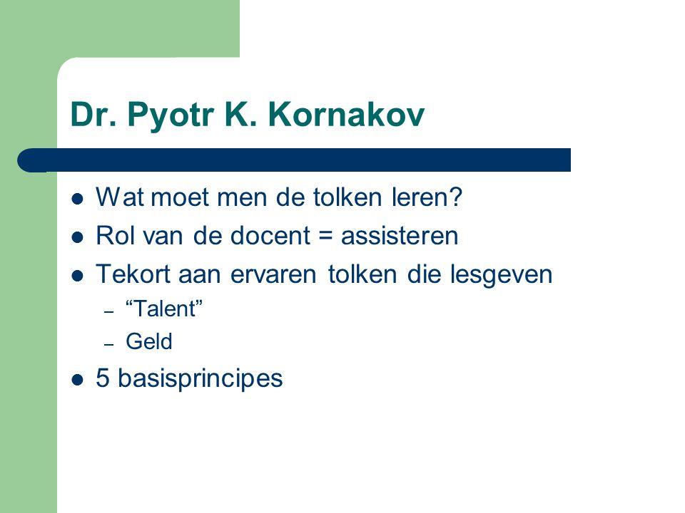 Dr.Pyotr K. Kornakov Wat moet men de tolken leren.