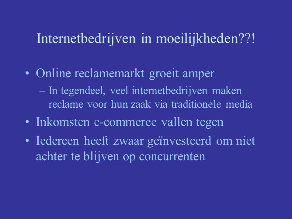 Internetbedrijven in moeilijkheden??! Online reclamemarkt groeit amper –In tegendeel, veel internetbedrijven maken reclame voor hun zaak via tradition