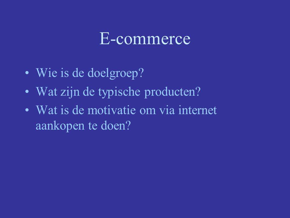 Toekomst Sterke groei VS: e-commerce vertegenwoordigt 15 % Belgie: –Dit jaar 0.16% van de consumentenmarkt –Inkomste e-commerce stegen met 420% –Komende jaren zullen uitgaven verdriedubbelen