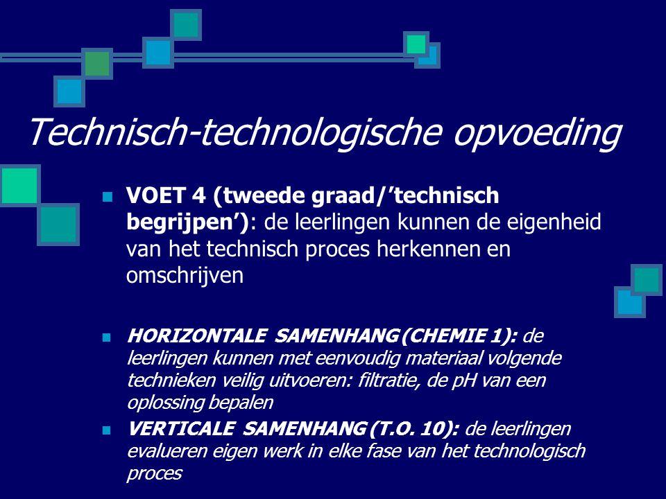 Technisch-technologische opvoeding VOET 4 (tweede graad/'technisch begrijpen'): de leerlingen kunnen de eigenheid van het technisch proces herkennen en omschrijven HORIZONTALE SAMENHANG (CHEMIE 1): de leerlingen kunnen met eenvoudig materiaal volgende technieken veilig uitvoeren: filtratie, de pH van een oplossing bepalen VERTICALE SAMENHANG (T.O.