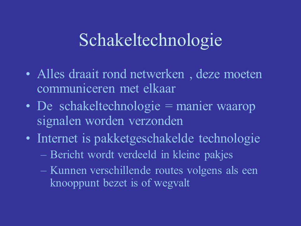 Schakeltechnologie Alles draait rond netwerken, deze moeten communiceren met elkaar De schakeltechnologie = manier waarop signalen worden verzonden Internet is pakketgeschakelde technologie –Bericht wordt verdeeld in kleine pakjes –Kunnen verschillende routes volgens als een knooppunt bezet is of wegvalt
