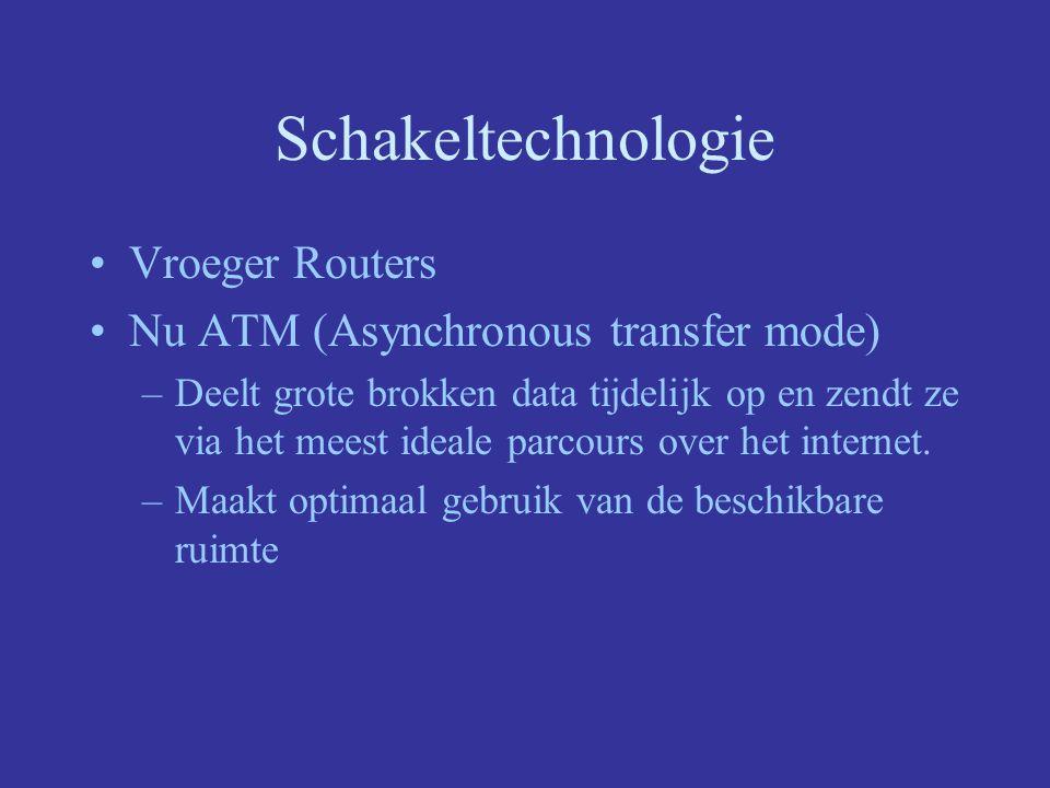 Schakeltechnologie Vroeger Routers Nu ATM (Asynchronous transfer mode) –Deelt grote brokken data tijdelijk op en zendt ze via het meest ideale parcours over het internet.