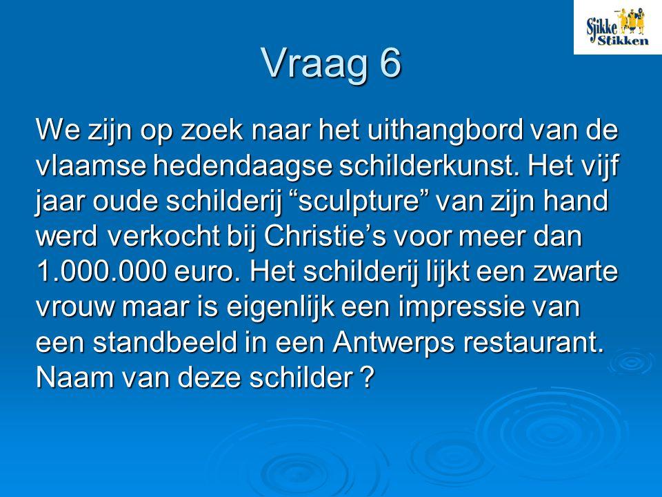 Vraag 6 We zijn op zoek naar het uithangbord van de vlaamse hedendaagse schilderkunst.