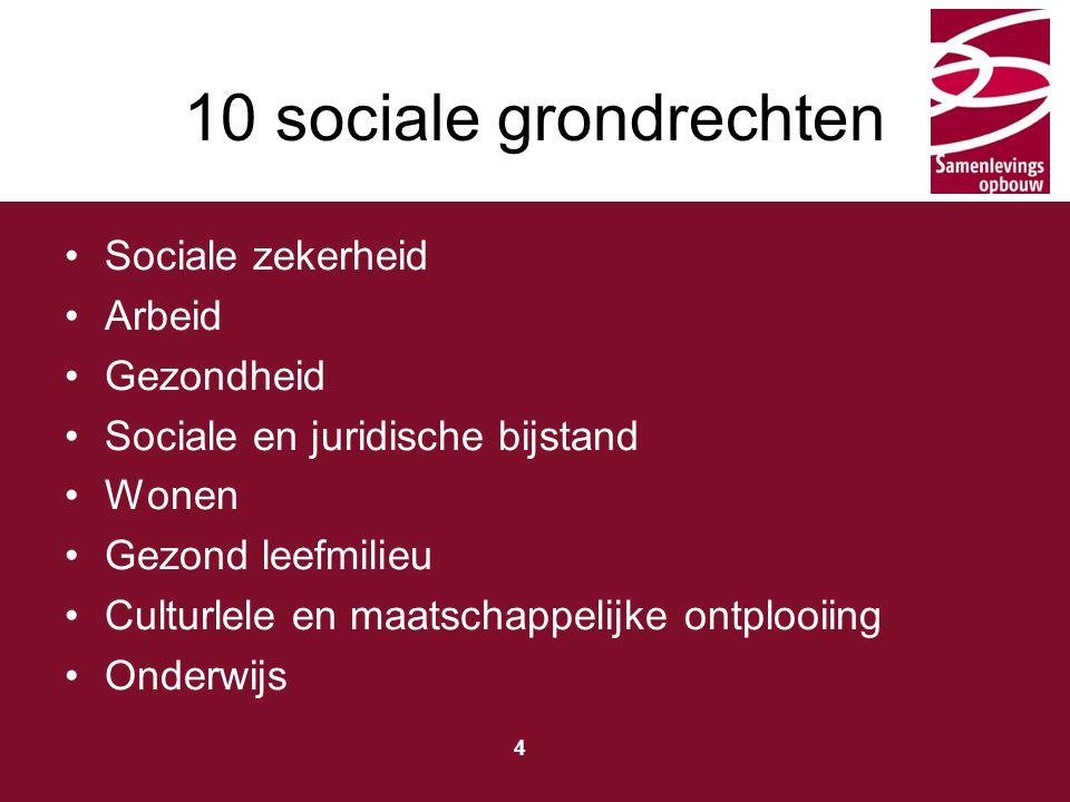 Typ hier de titel 4 10 sociale grondrechten Sociale zekerheid Arbeid Gezondheid Sociale en juridische bijstand Wonen Gezond leefmilieu Culturlele en maatschappelijke ontplooiing Onderwijs