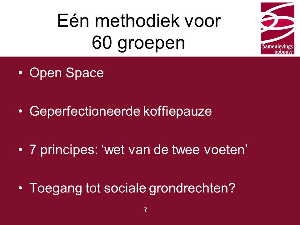 Typ hier de titel 7 Eén methodiek voor 60 groepen Open Space Geperfectioneerde koffiepauze 7 principes: 'wet van de twee voeten' Toegang tot sociale grondrechten?
