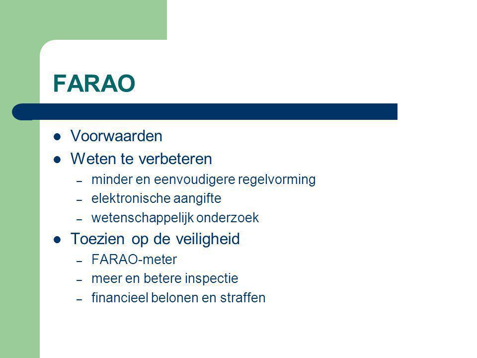 FARAO Voorwaarden Weten te verbeteren – minder en eenvoudigere regelvorming – elektronische aangifte – wetenschappelijk onderzoek Toezien op de veiligheid – FARAO-meter – meer en betere inspectie – financieel belonen en straffen