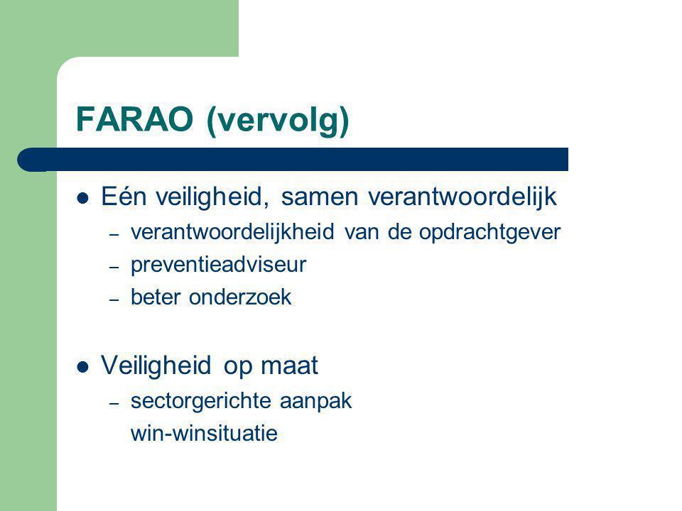 FARAO (vervolg) Eén veiligheid, samen verantwoordelijk – verantwoordelijkheid van de opdrachtgever – preventieadviseur – beter onderzoek Veiligheid op maat – sectorgerichte aanpak win-winsituatie