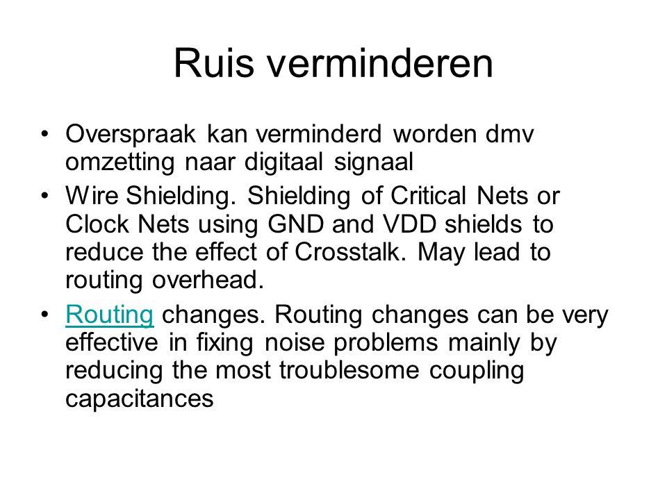 Ruis verminderen Overspraak kan verminderd worden dmv omzetting naar digitaal signaal Wire Shielding.