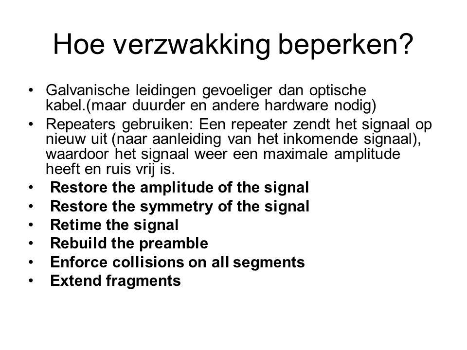 vertraging Tijdstip dat zender signalen verstuurt en tijdstip dat ontvanger ze waarneemt => voortplantingsvertraging Als de signalen tss de zender en ontvanger via een apparaat worden gestuurd (apparaat bewerkt of verwerkt signalen) => Verwerkingsvertraging Vertragingen die variëren (in functie van tijd) => Jitter