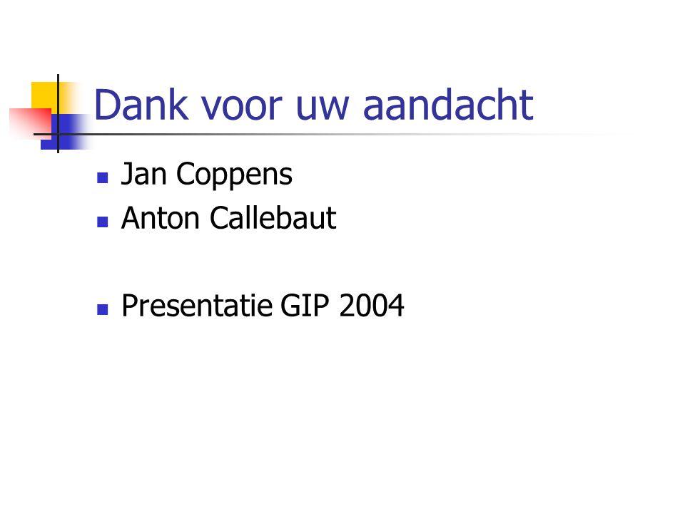 Dank voor uw aandacht Jan Coppens Anton Callebaut Presentatie GIP 2004